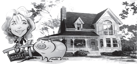 Market Properties Logo House with Sign Woman and Pig